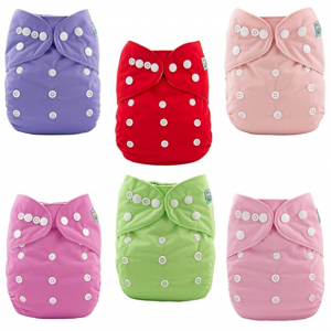ALVABABY Baby Cloth Diapers polka dots