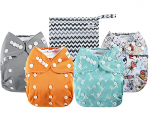 Anmababy 4 Pack Adjustable Size Waterproof Washable Pocket Cloth Diapers
